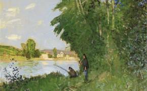 Picture nature, river, picture, Pierre Eugène Montesin, Pierre-Eugene Montezin, Landscape with Two Fishermen