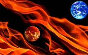 Picture space, fire, planet