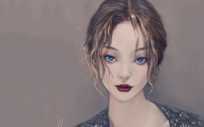 Picture sponge, blue eyes, grey background, art, portrait of a girl, looks you in the eye, …
