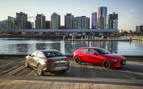 Picture auto, river, skyscrapers, pier, Mazda