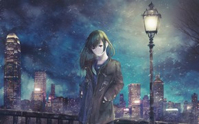 Picture girl, night, street, lantern
