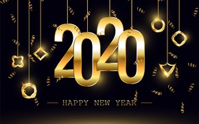 Picture New year, golden, black background, black, background, New Year, decoration, 2020