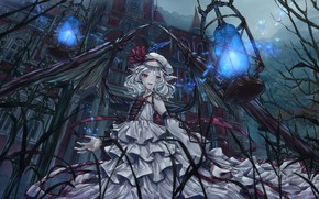 Picture girl, house, the game, wings, anime, Touhou Project, Remilia Scarlet