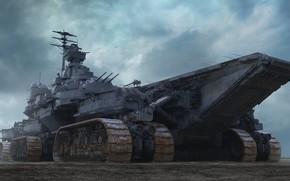 Picture Ship, Fantasy, Caterpillar, Render, Fiction, The carrier, Carrier, Sci-Fi, Ship, Aircraft Carrier, Tomi Väisänen, Transport …