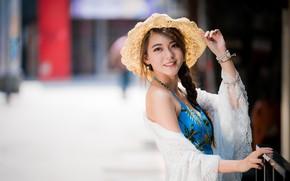 Picture girl, smile, hat, Asian, cutie, bokeh