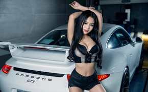 Picture look, Girls, Porsche, Asian, beautiful girl, white car, posing on the car