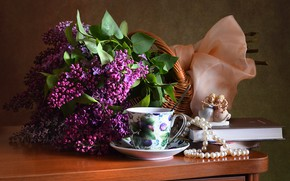 Picture table, bouquet, spring, Cup, pearl, beads, book, figurine, still life, lilac