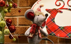 Picture balls, decoration, smile, wall, holiday, toy, deer, mouse, mouse, silhouette, muzzle, New year, bricks, grey, …