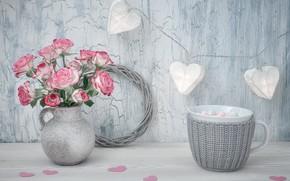 Picture roses, bouquet, vase, Anya Ivanova