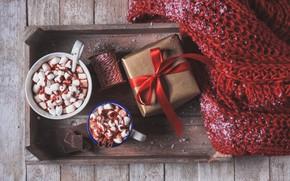 Picture gift, chocolate, scarf, cocoa, cups, marshmallows, Valeria Maksakova