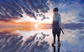 Picture Naruto, sky, nature, Uchiha Sasuke, watter, by Ns7104