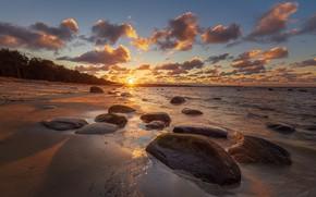 Picture sea, the sky, sunset, stones, coast
