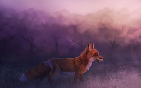 Picture forest, Fox, by CreeperMan0508