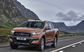 Picture road, mountains, Ford, pickup, Ranger, Wildtrak