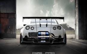 Picture white, Auto, Machine, GTR, Nissan, GT-R, Rendering, Nissan GT-R, Rear view, Nissan GTR, Dmitry Strukov, ...