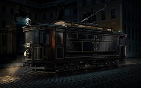 Picture darkness, cross, tram, 1917 Funeral Tram, The Black Mary