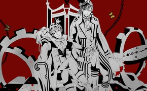 Picture guys, red background, kings, Mahiro Fuwa, Zetsuen No Tempest, Yoshino Takigawa