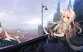 Picture girl, the city, ears