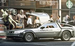 Picture Humor, Armor, Knights, City, Car, Warriors, Back to the future, DeLorean DMC-12, Taxi, Art, Knight, …