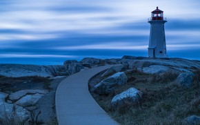 Picture road, landscape, nature, stones, the ocean, lighthouse, Canada, twilight, Peggy's Cove Lighthouse
