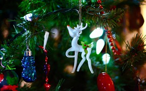 Picture winter, holiday, toys, deer, Christmas, New year, Christmas decorations, новогодние декорации