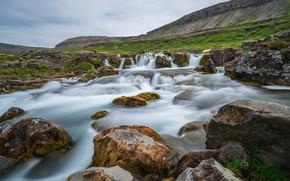 Picture photo, Nature, Mountains, River, Stones, Iceland, Waterfall, Waterfalls, Dynjandi