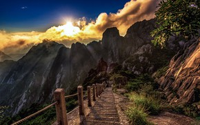 Picture the sun, clouds, mountains, rocks, China, steps