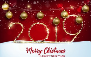 Picture red, background, gold, New Year, figures, red, golden, background, New Year, Happy, sparkle, 2019