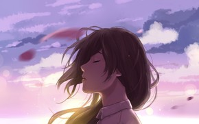 Picture the sky, girl, the wind