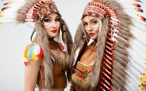 Picture girls, feathers, light background, costumes, paint, roach, Vitaly Rychkov
