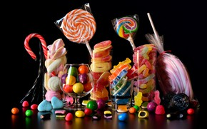 Picture food, candy, glasses, black background, still life, pastry, a lot, different, composition, cuts