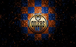 Picture wallpaper, sport, logo, NHL, hockey, glitter, checkered, Edmonton Oilers