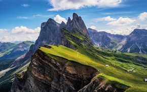 Picture the sky, clouds, mountains, Alps, meadows