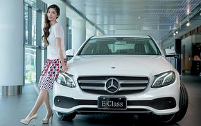 Picture look, Girls, Mercedes, Asian girls, beautiful girls, white car, posing over the car