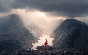 Picture girl, mountains, fog, lake, stones, height, dress, Lizzy Gadd