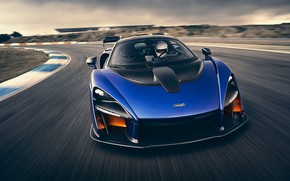 Picture McLaren, supercar, front view, 2018, Senna, Kyanos Blue