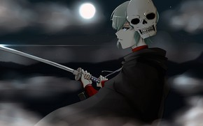 Picture the moon, skull, sword, guy, Gintama, Gintama