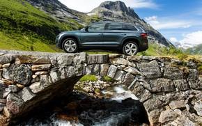 Picture mountains, stream, stream, SUV, Skoda, stone bridge, Skoda, 2016, Kodiaq