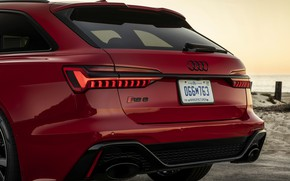 Picture red, Audi, spoiler, the rear part, universal, RS 6, 2020, 2019, V8 Twin-Turbo, RS6 Avant