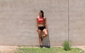 Picture girl, pose, figure, slim, girl, figure, the wall, pose, fitness, fitness model, fitness model, Allison …