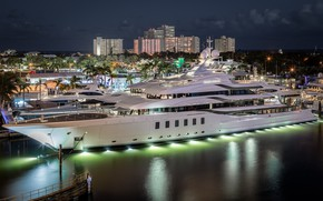 Picture night, the city, lights, Marina, yacht
