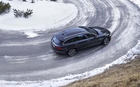 Picture road, asphalt, snow, Jaguar, turn, top, universal, Jaguar XF, 2020, XF, XF Sportbrake