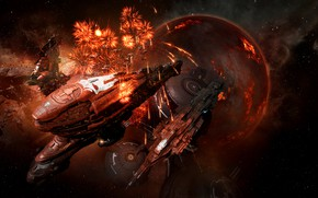 Picture nebula, holiday, planet, station, salute, asteroids, Space, space, spaceship, eve online, space ship, coooper