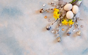 Picture holiday, eggs, Easter, Verba, daffodils