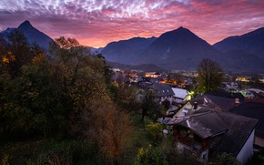 Picture landscape, mountains, nature, the city, dawn, home, morning, Slovenia, Bovec