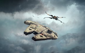 Picture The sky, Clouds, Star Wars, Art, Star Wars, Fiction, Spaceship, Spaceship, X-Wing, Millennium Falcon, Science …