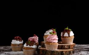 Picture berries, raspberry, chocolate, cream, cupcakes