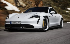 Picture speed, blur, Porsche, slope, Turbo S, 2020, Taycan