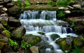 Picture Water, Nature, Waterfall, River, Stones, Stream, Moss, Thresholds