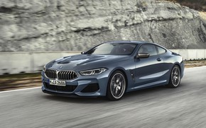 Picture movement, coupe, speed, BMW, Coupe, 2018, gray-blue, 8-Series, pale blue, M850i xDrive, Eight, G15